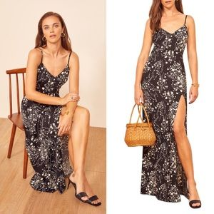 REFORMATION Harlowe V-Neck Maxi Dress in Solstice